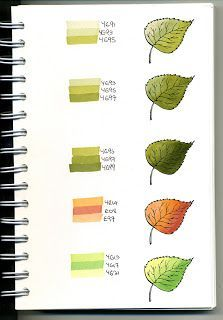 Leaf Blended Colors With Copic Marker Copic Marker Art, Copic Art, Copic Sketch Markers, Tombow Markers, Colouring Techniques, Drawing Techniques, Copic Kunst, Swatch, Copic Markers Tutorial
