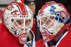 Dustin Tokarski of the Montreal Canadiens (born Sept. 16, 1989 in Watson, SK.) 2015-16 Mask / It looks like Tokarski is wearing the mask he's worn the previous two seasons. / Artist: David Arrigo