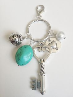 Turquoise Stone and Key Bauble Cluster by KananiKouture on sale this week only!! $5.00