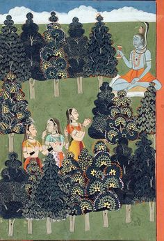 Siva as an ascetic is greeted by three women. Gita Govinda, Opaque watercolor and gold on paper, Bikaner, ca. 1705