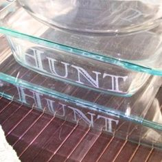 Personalized Etched Glass dishes.