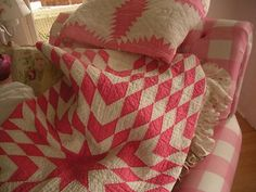 Antique Vintage Old Hand Stitched Lone Star Quilt Pink and White | eBay, plumdumplins65