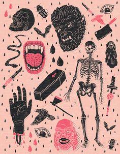 Whole Lotta Horror Art Print by Josh Ln
