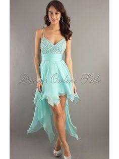 Cute Light Sky Blue A-line Asymmetrical Chiffon Spaghetti Straps Dress With Crystals