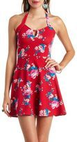 Floral Print Halter Skater Dress