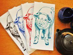 Set of 4 Farm Animal Dinner Napkins  $24 Click Here: https://www.etsy.com/listing/190658864/set-of-4-dinner-napkins-screen-printed?utm_source=Pinterest&utm_medium=PageTools&utm_campaign=Share