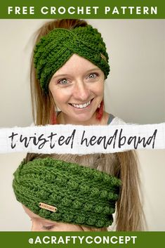 Learn how to make this super trendy crochet twisted headband style ear warmer. Bandeau Crochet, Crochet Headband Free, Knitted Headband, Crochet Headband Tutorial, Knit Headband Pattern, Crochet Bobble, Bobble Stitch, Crochet Beanie, Crochet Cap