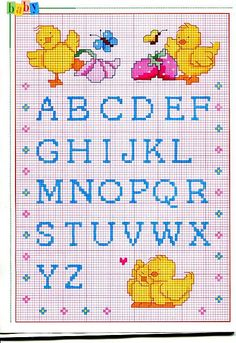 Alfabeto punto croce maiuscolo piccolo con pulcini e ciliegie Cross Stitch Alphabet Patterns, Diabetic Dog, Cross Stitch Baby, Alphabet And Numbers, Hand Embroidery Patterns, Le Point, Hobbies And Crafts, Cross Stitching, Crochet Projects