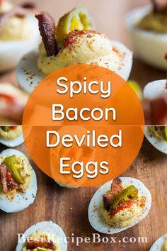 Jalapeno Bacon, Jalapeno Recipes, Stuffed Jalapenos With Bacon, Bacon Recipes, Brunch Recipes, Sriracha Recipes, Paleo Recipes, Bacon Deviled Eggs, Deviled Eggs Recipe
