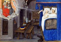 """Illustration : """"Une procréation assistée...par le Ciel"""" Traité divers, Paris, Bibliothèque de l'Arsenal,  ms 5206, folio 174 (XVe siècle)."""