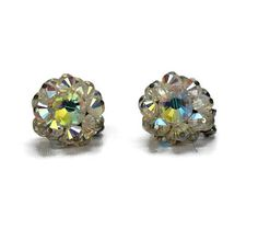 Hobe AB Crystal Clip On Round Cluster Earrings Signed Aurora
