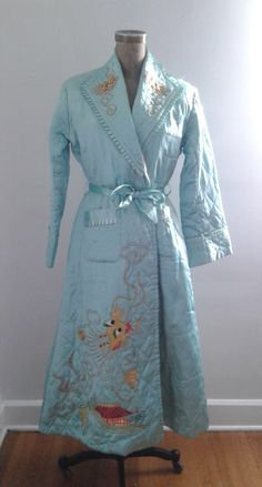 cd27a7a3e5 Vintage 1940 s Baby Blue Quilted Satin Robe Chinese Dragon Embroidery
