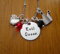 "Disney's Snow White Inspired Necklace. ""Evil Queen"" Disney Villain, apple charm, crown charm & Swarovski crystals by WithLoveFromOC, $20.00"