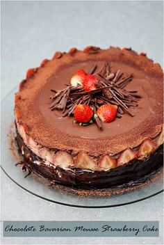 Chocolate Bavarian Mousse Strawberry Cake by Passionate About Baking - with recipe link
