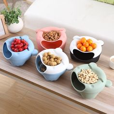 Cute Bear Ears Melon Seeds Nut Bowl Table Candy Snacks Dry Fruit Holder Storage Box Plate Dish Tray With Mobile Phone Stents Fruit Storage, Kitchen Storage Containers, Food Storage, Dish Storage, Plastic Storage, Fruit Box, Fruit Plate, Dish Organization, Snack Bowls