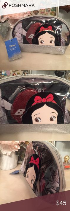 """SAT SALE! Danielle Nicole Disney 3 Piece Bag Set Danielle Nicole Disney 3 Piece Cosmetic Bag Set. Snow White. 3 bags included. 1 large cosmetic clear purse. 1 small zip """"fairest of them all"""" pouch and 1apple coin purse. Snag this amazing set at a great deal! Danielle Nicole Bags Cosmetic Bags & Cases"""