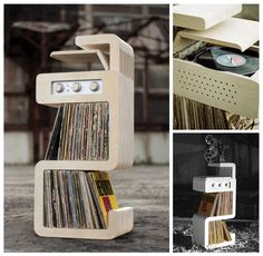 cratesofvinyl: Record Stand with a built-in Record Player