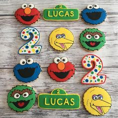 "Cookies By O on Instagram: ""Happy birthday Lucas! . . . #cookiesbyo #cookies #sugarcookies #torontocookies #gtacookies #edibles #edibleart #torontoeats #sesamestreet…"" Sesame Street Party, Sesame Street Birthday, Birthday Parties, Happy Birthday, Birthday Ideas, Cookie Monster Party, Edible Art, Cookie Decorating, Sugar Cookies"