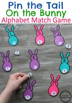 Fun Preschool Easter Game - Pin the Tail on the Bunny Alphabet Match #easter #preschool #easteractivities #easterpreschool #planningplaytime #lettermatching #alphabet