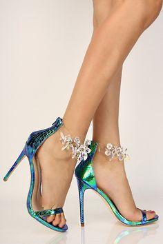 e71e08e67a7e Sexy Blue Multi Holographic Reptile Gemstone Single Sole High Heels Patent