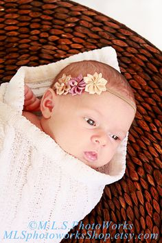 Natural Newborn Flower Headband  Baby Girl by MLSPhotoWorksShop, $5.50