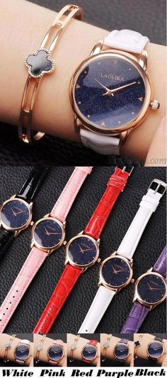 Unique Circular Shining Starry Sky Dial Galaxy Waterproof Women Quartz Watch for big sale! Simple Watches, Cute Watches, Retro Watches, Cheap Watches, Elegant Watches, Beautiful Watches, Vintage Watches, Watches For Men, Women's Watches