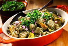 """Hearty, whole grain gnocchi and the """"superfood"""" kale lay the foundation for this nutrient-rich comfort dish. The winning combination of canola oil and walnuts give the meal two of the best sources of plant-based omega-3 fat available. Healthy convenience foods such as pre-packaged whole grain gnocchi and frozen cubed butternut squash save time in preparing the dish."""