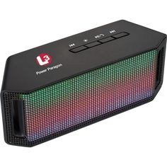 Light Up Bluetooth Speaker.  Jam out in style with the Lumi Light Up Speaker. The Bluetooth speaker features 6 different color lights, which pulse to your favorite music. Features built in music control and mic. Includes Micro USB to USB charging cable and auxiliary cord.  #corporate gifts