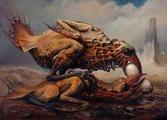 Photo credit: Dariusz Zawadzki Born in Zawadzki continues in Bekinski's tradition of frightening fantasy realism. Art And Illustration, Arte Horror, Horror Art, Art Sinistre, Surreal Artwork, Ouvrages D'art, Creepy Art, Traditional Paintings, Modern Paintings