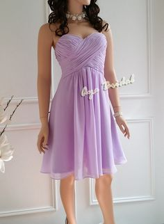 Nice material Lilac Bridesmaid Dress / party dress / knee length by AyaBridal, $85.00