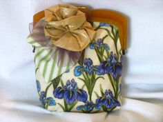 Iris Fabric Clutch with Vintage Lucite Handles by fancibags, $65.00