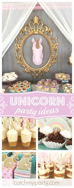 Don't miss this gorgeous Vintage Unicorn birthday party. The dessert table is fabulous!! See more party ideas and share yours at CatchMyParty.com