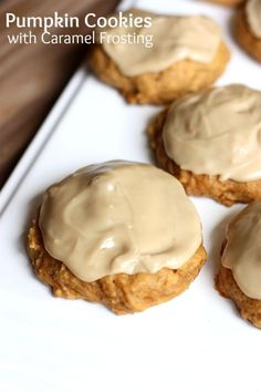 Pumpkin Cookies with Caramel Frosting recipe from TastesBetterFromScratch.com-- soft pumpkin cookies with a melt-in-your-mouth caramel frosting!