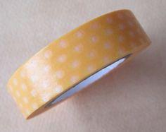 Washi Tape  1 Roll  Yellow with Polka Dots   by HazalsBazaar, $3.50