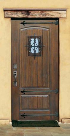 Rustic Fiberglass door With speakeasy & Straps. V-grooved plank panel. many authentic wood finis fiberglass doors available on store Cool Doors, House Exterior, Entry Doors, Exterior Doors, Fiberglass Door, Rustic Doors, Old Doors, Doors, Rustic House