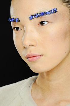 blue glittered eyebrows...