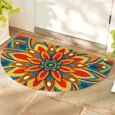 Shop a colorful collection of outdoor rugs and mats at Grandin Road. You find beautiful patio rugs and front door outdoor mats in many colors and patterns. Patio Rugs, Outdoor Area Rugs, Indoor Outdoor, Textile Patterns, Flower Patterns, Leaf Border, Rugs And Mats, Painted Rug, Painted Furniture