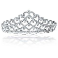 Bling Jewelry Bling Jewelry Rhinestone Bridal Tiara With Weaved Heart... ($41) ❤ liked on Polyvore featuring accessories, hair accessories and clear