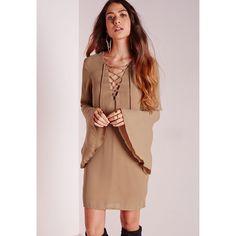 Missguided Crepe Tassel Tie Swing Dress (62 QAR) ❤ liked on Polyvore featuring dresses, camel, crepe dress, swing dress, long dresses, long bell sleeve dress en long swing dress