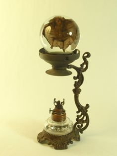 Wet Specimen Bat In Glass Sphere On Antique Victorian Vaporizer
