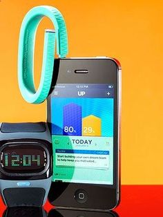 The Jawbone Up is a wristband and phone app that measures every step you take, functions as a stopwatch for workouts, monitors snooze patterns (for instance, set the alarm and it will wake you up just as youre coming out of a deep sleep), and provides nutrition feedback (snap a picture of your meal or scan the bar code on foods). Itll even remind you to get moving when youve been sitting around too long. - Chicfluff
