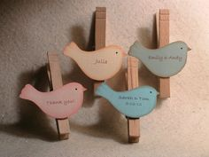 Personalized favor for wedding or shower - bird on clothespin magnet - quantity 10 Christmas Tree Decorations To Make, Christmas Ornaments, Lake Party, Clothespin Magnets, Tea Party Baby Shower, Beautiful Baby Shower, Personalized Wedding Gifts, Diy Gifts, Wedding Favors