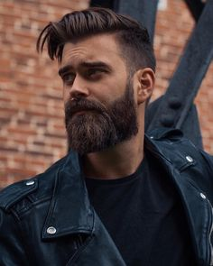 (Slacker Black) Beard and fade hairstyle. Leather jacket from blkdn.,SlackerBlack (Slacker Black) Beard and fade hairstyle. Leather jacket from blkdn., 5 Beard Styles You Need To Know In 2019 Beard Styles For Men, Hair And Beard Styles, Hair Styles, Sexy Beard, Beard Love, Beard Bald, Perfect Beard, Mens Hairstyles With Beard, Haircuts For Men