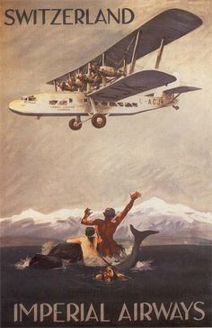 Imperial Airways - Switzerland vintage travel poster, 1920's. ~ 4-engined biplane sea monster impresses mer people and humans alike.