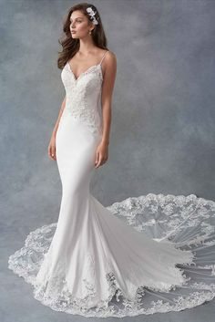 Fitted bridal gown with lace top and dramatic lace train available off-the-rack at Silk Bridal Studio. Satin Mermaid Wedding Dress, Cute Wedding Dress, Wedding Dress Styles, Dream Wedding Dresses, Designer Wedding Dresses, Bridal Dresses, Wedding Gowns, Bridesmaid Dresses, Floral Wedding