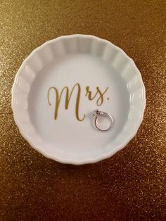 Mrs. Jewelry Dish Bride Ring Earring Wedding by withlovelouise