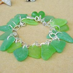 Charm Bracelet Green Sea Glass Handmade by newsprout on Etsy