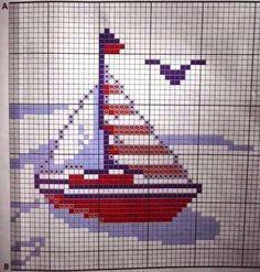 **Blog Amor Perfeito** Gráficos de ponto cruz: Barquinhos Quilt Stitching, Cross Stitching, Cross Stitch Embroidery, Cross Stitch Patterns, Cross Stitch Sea, Cross Stitch Cards, Pixel Design, Cross Stitch Landscape, Embroidery Monogram