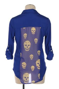 G2 Chic Skull Printed Blue Button Down Shirt