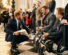 Prince Harry meets @Proud_Sappers Clive and Jack who have both suffered life-changing injuries in service #BD75